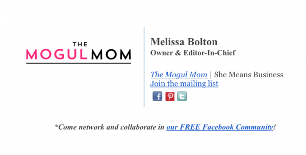 The Mogul Mom email signature